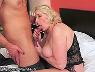 Old blonde woman now can boast to curious neighbors about sex with younger dude  5