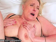Old blonde woman now can boast to curious neighbors about sex with younger dude  7
