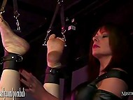 Lustful dominatrix squeezes jizz from tied up slave's balls and shoves dildo in his anal hole 3
