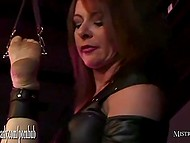 Lustful dominatrix squeezes jizz from tied up slave's balls and shoves dildo in his anal hole 9
