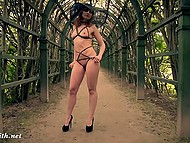 Thin sweet thing Jeny Smith walks through interesting places in provocative lingerie