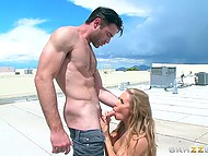 Busty Nicole Aniston caught pumped stranger and immediately took ride on hard dick on roof 4