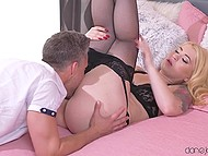 Macho screwed light-haired babe in fashioned lingerie and covered trimmed pussy with thick semen 4