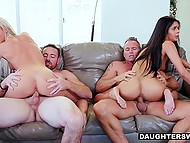 Lustful males hypnotized petite stepdaughters to have unforgettable group fuck