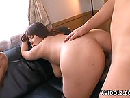 Greedy for sex MILF with enormous boobs and unshaven vagina has foursome with Japanese fellows 3