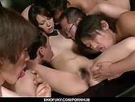 Group of perverts got the objective to lead skinny Japanese girl to squirt and they completed that task perfectly 6