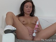 Playful brunette Niki Sweet with small boobies leisurely masturbates in solo video 8