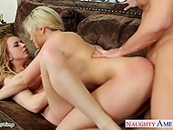 Blonde girlfriends Lexi Belle and Mia Malkova convinced man to take part in awesome group sex 9