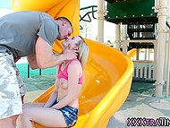 After fun on playground, dude took young honey to his place and shoved dick into shaved pussy 3