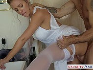 Gorgeous bride Nicole Aniston went to put on makeup and had awesome sex with witness 7