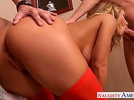 Stunning babe Nicole Aniston dressed up in Santa suit had good time with two young assistants 10