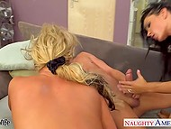 Playful girlfriends Jessica Jaymes, Phoenix Marie and Romi Rain rose up neighbor's mood quickly 10