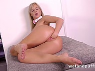 Light-haired beauty in high heels properly stimulated asshole with sex toy and fisted vagina 10