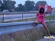 Remarkable chicks couldn't resist anymore and lowered their panties to pee in public places