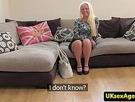 Adorable blonde with slim body tries to break into porn business at British casting 3