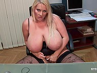 Lady distracted from laptop to knead immense jugs and stimulate tattooed vagina in office 10