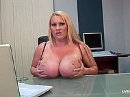 Lady distracted from laptop to knead immense jugs and stimulate tattooed vagina in office 11
