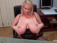 Lady distracted from laptop to knead immense jugs and stimulate tattooed vagina in office 5
