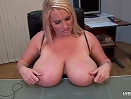 Lady distracted from laptop to knead immense jugs and stimulate tattooed vagina in office 6