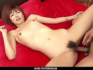 Two comrades tempt subtle girl from Japan to creampie her unshaven pussy in threesome 11