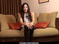 Stylish babe from Japan answers all questions and takes cock in tender mouth at casting 5