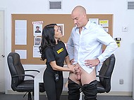 Petite security guard brought bald stranger to back room for further inspection 4