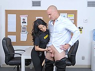 Petite security guard brought bald stranger to back room for further inspection 5