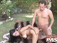 Chesty Latina with pierced vagina bent over and let male penetrate vagina in open air 4