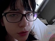 Tattooed colleen was quietly lying on bed until guy poured her pussy with sperm 10