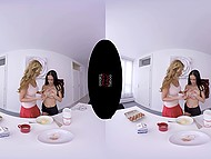 Suntanned girl with big hooters and fragile brunette distracted from cooking to fool around in VR XXX clip 3