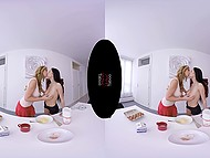 Suntanned girl with big hooters and fragile brunette distracted from cooking to fool around in VR XXX clip 4