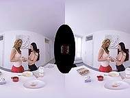 Suntanned girl with big hooters and fragile brunette distracted from cooking to fool around in VR XXX clip 5