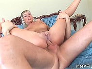 Joyful blonde with nice boobs wanted anal sex so buddy gladly helped her with dick 9