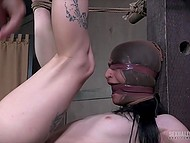 Tied up brunette has her mouth and trimmed pussy fucked dirty by dominant guys 8