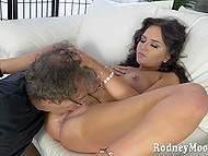 Hungry lady likes to suck his hard cock so he polishes her clit with passion 6