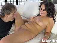 Hungry lady likes to suck his hard cock so he polishes her clit with passion 9