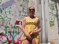 Well-shaped blonde flashes juicy boobs and tiny pussy under her dress by wall with graffiti 6