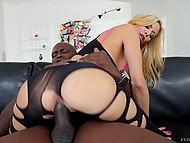 Massive shaft of Ebony inamorato makes big-boobied MILF moan with pleasure on sofa