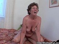 Old woman interrupts younger guy from reading magazine to get lustful anal hole fucked