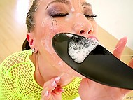 Great Asian woman smears dick with cream to make partner cum on her pretty face 10