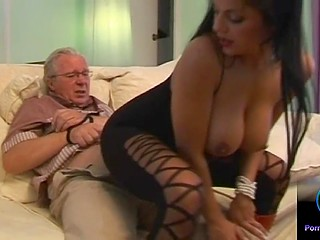 Old grandfather obeys young woman and he is ready to do everything for good blowjob