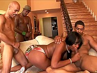 Men with big black dicks thoroughly fed raunchy girl with sperm after unforgettable blowjob