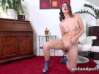 Nice beauty slowly undressed and carefully masturbated pussy with sex toys and pump