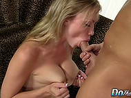 Macho thoroughly licked smooth vagina of busty beauty and shoved his boner there 9