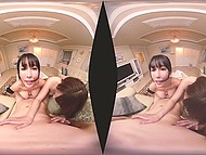 Two cuddly Japanese beauties lick guy's balls and slide his cock between their tits