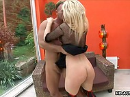 Big-boobied blonde in black stockings was fucked by one man and then his friend changed him 11