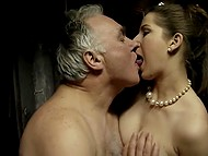Gray-haired general takes off his uniform to do dirty things with two slutty brunettes at headquarters 7