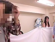 Japanese guy chooses sexual partner by inspecting pussies through bed sheet and fucks her in front of others  4