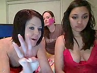 Three cheerful girls shamelessly demonstrate titties and buttocks on webcam at home