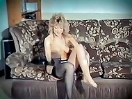 Retro strip dance performed by curly-haired blonde listening to the music of the eighties 8